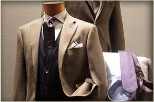 beige suit on mannequin